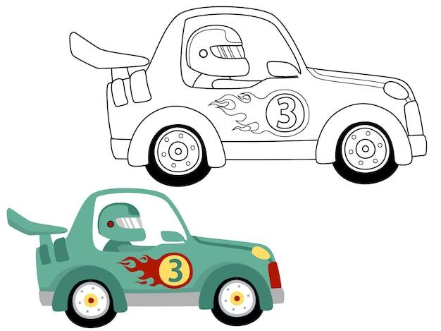 Illustrazione del fumetto della macchina da corsa