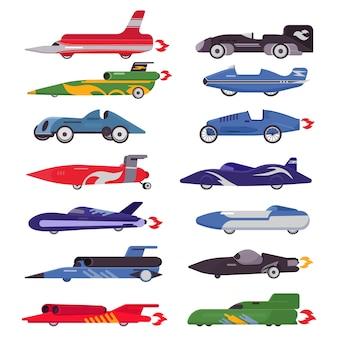 Speedcar di corsa della macchina da corsa su una pista e su un bolide automatico che guidano sull'insieme dell'illustrazione dell'automobile dell'automobile di formula di evento sportivo di raduno isolato su fondo bianco