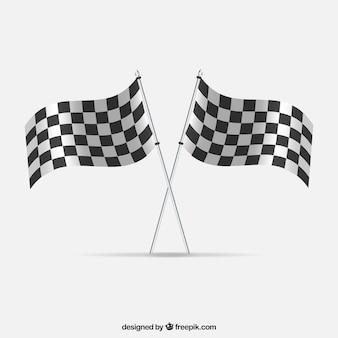 Gara bandiere a scacchi con un design realistico Vettore Premium