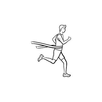 Icona di doodle di contorno disegnato a mano del nastro di finitura dell'incrocio del leader della corsa vincitore della gara, concetto di leader della maratona