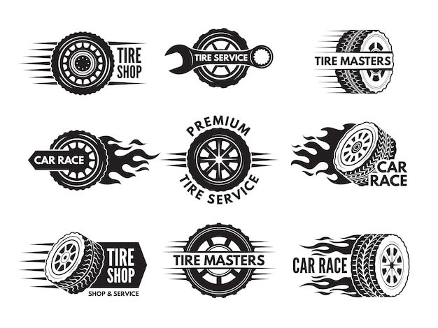 Loghi di gara con immagini di diverse ruote di automobili