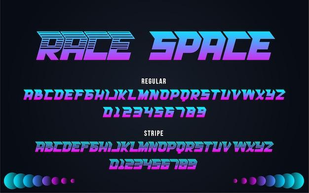 Alfabeto tipografia race space font