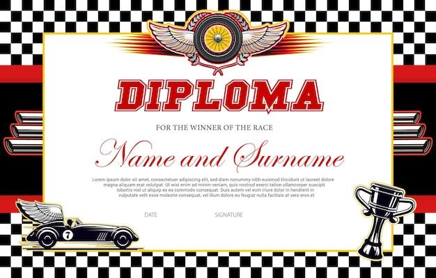 Modello di diploma del vincitore della gara. bordo del premio da corsa con bandiera a scacchi, auto alata e calice