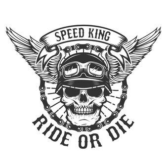 Cranio di racer con ali. potenza per motociclisti. cavalca o muori. elemento per poster, t-shirt, emblema. illustrazione