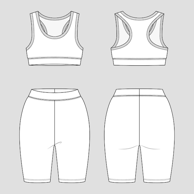 Bralette e pantaloncini legging con schiena scoperta. abbigliamento sportivo da donna. set di abbigliamento sportivo.