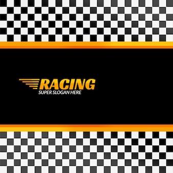 Sfondo di corse con bandiera da corsa, banner di design sportivo o poster.