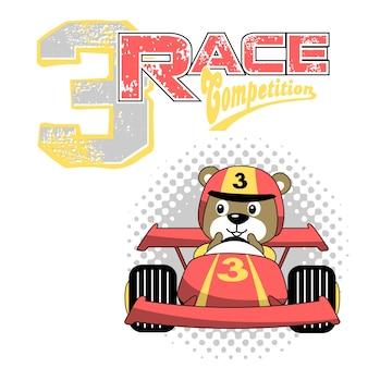 Auto da corsa con divertente corridore