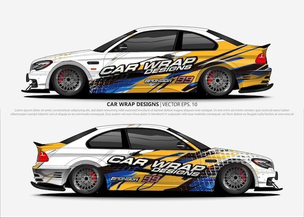 Design avvolgente per auto da corsa. adesivo in vinile per veicoli e livrea per decalcomanie automobilistiche