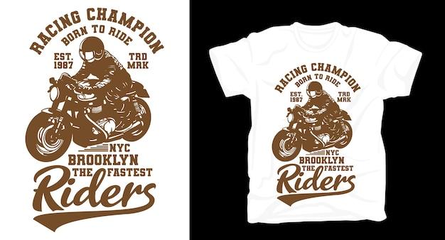 T-shirt da motociclista vintage retrò dei campioni di corse