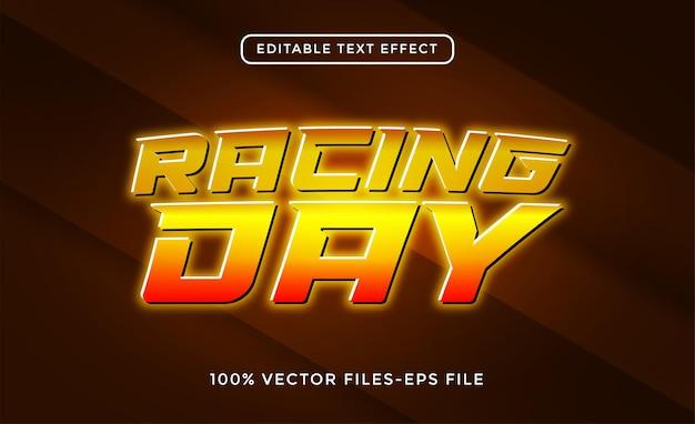 Vettori di effetti di testo modificabili per il giorno delle corse
