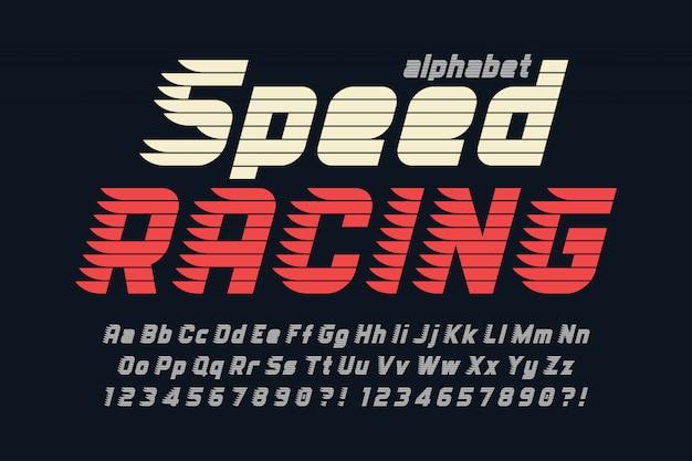 Racing design del carattere display, alfabeto, lettere e numeri.