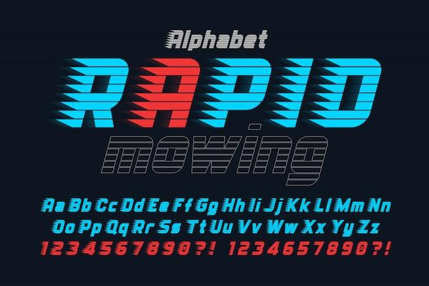 Racing display design del carattere, alfabeto, carattere tipografico, lettere e numeri