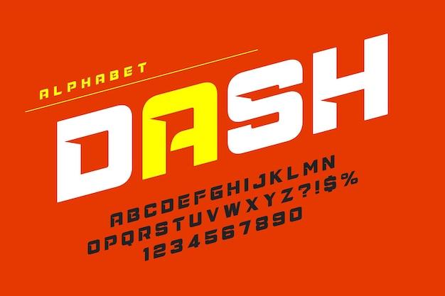 Design delle lettere del display da corsa, alfabeto dinamico, numeri