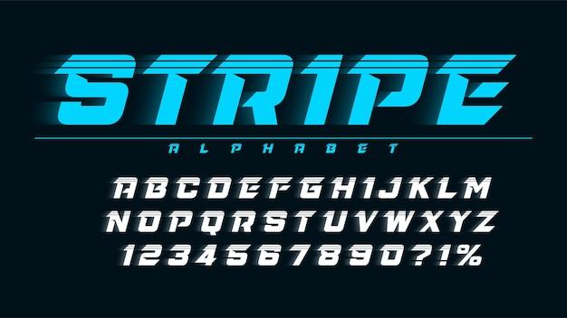 Design delle lettere del display da corsa, alfabeto dinamico, numeri.