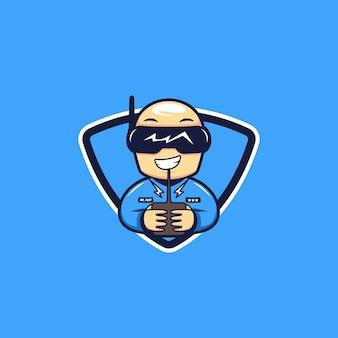 Logo pilota di droni da corsa, mascotte sportiva cattivo calvo drone pilota da corsa logo icona carattere illustrazione stile cartone animato