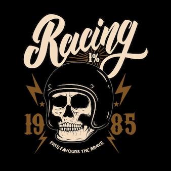 Da corsa. modello di emblema con teschio motociclista.