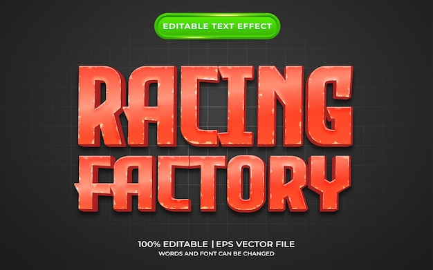 Stile del modello di effetto di testo della fabbrica di corse