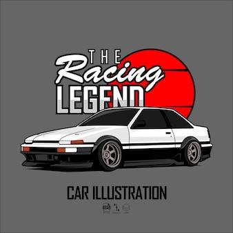 La leggenda delle corse illustrazione dell'auto con sfondo grigio