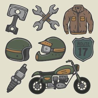 Illustrazione d'epoca di moto da corsa