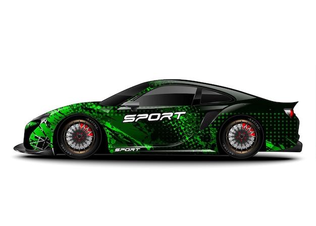Auto da corsa sportiva. adesivo decalcomania e livrea del veicolo.