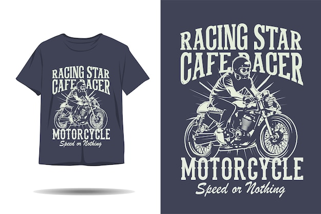 Racing star cafe racer moto velocità o niente silhouette tshirt design
