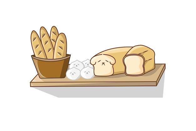 Rack pieno di illustrazione vettoriale di pane