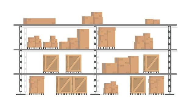 Rack con scatole. scatole per il trasporto di merci. elemento per la progettazione di magazzini, consegna e trasporto di merci. isolato. .