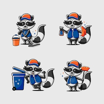 Racoon cleaner mascot