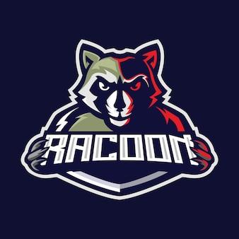 Logo di racoon e sport