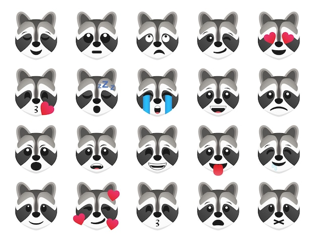 Raccolta di icone di sorriso emoticon procione. insieme di emoji del procione del fumetto. set di emoticon vettoriale