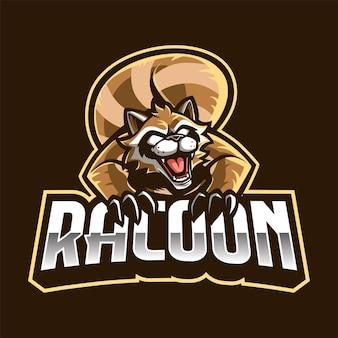 Logo della mascotte di racoon per esport e sport