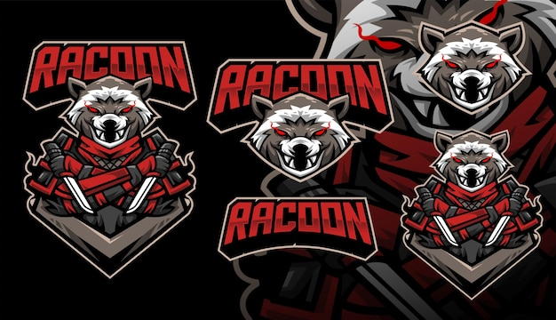 Logo della mascotte del gioco del calcio di racoon ninja
