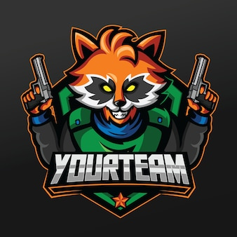 Racoon rescue shooter mascot sport illustration design
