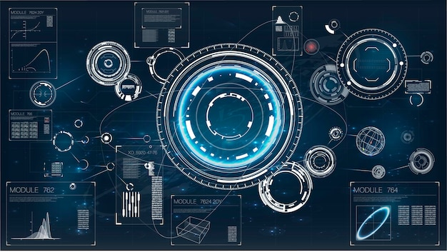 Interfaccia radar centro di comando gioco ui concetto futuristico marine militare