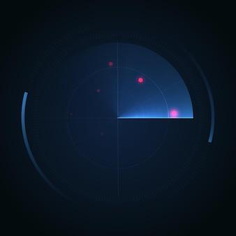 Schermo radar hud visualizza l'interfaccia radar vettoriale su sfondo scuro