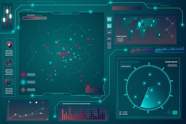 Schermata radar. sfondo tecnologico. hud.