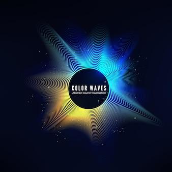 Curva dell'onda sonora di colore radiale con particelle di luce. visualizzazione colorata dell'equalizzatore.