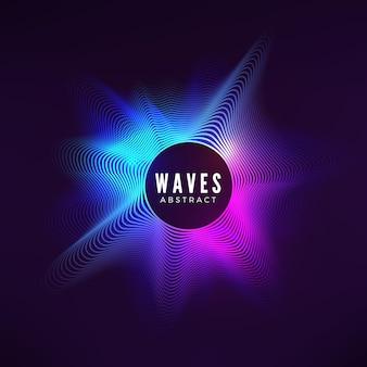 Curva radiale dell'onda sonora. visualizzazione colorata dell'equalizzatore.