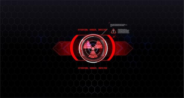 Segno di radiazioni sul bellissimo sfondo, stile hud nei toni del rosso. tecnologia futuristica
