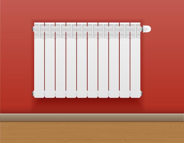 Locale di riscaldamento del radiatore con caldo sulla parete