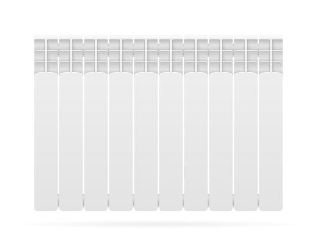 Ambiente di riscaldamento del radiatore con acqua calda su bianco