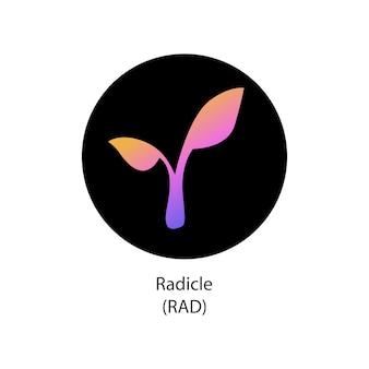 Radicle decentralizzata criptovaluta cryptocoin vector logo icon
