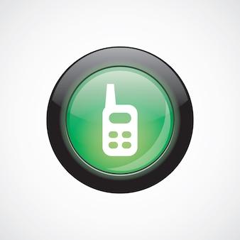 Pulsante lucido di radio vetro segno icona verde. pulsante del sito web dell'interfaccia utente