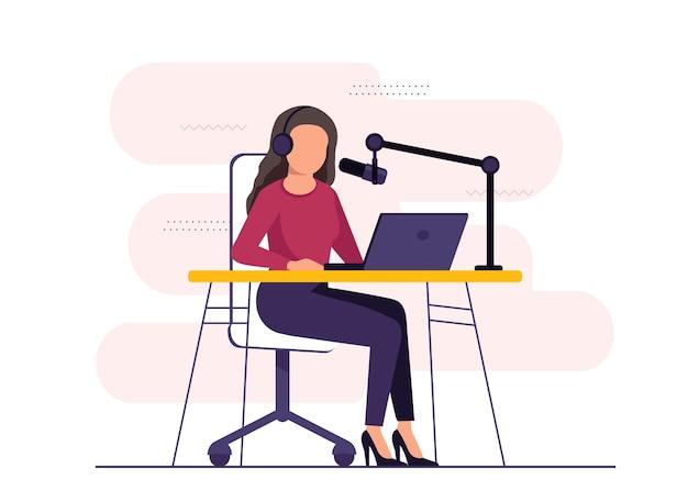 Conduttore radiofonico seduto davanti all'illustrazione del microfono