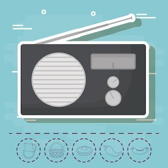 Radio e pic-nic relative icone su sfondo blu, design colorato. illustrazione vettoriale