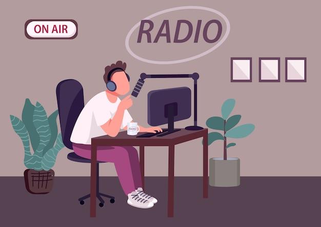 Illustrazione piana di vettore di colore di manifestazione radiofonica del podcast. dj radio professionale, personaggio ospitante personaggio dei cartoni animati 2d con studio di registrazione su sfondo. Vettore Premium