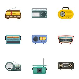 Icone della stazione radio messe, stile del fumetto
