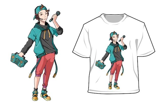 Design del personaggio del ragazzo di strada della radio