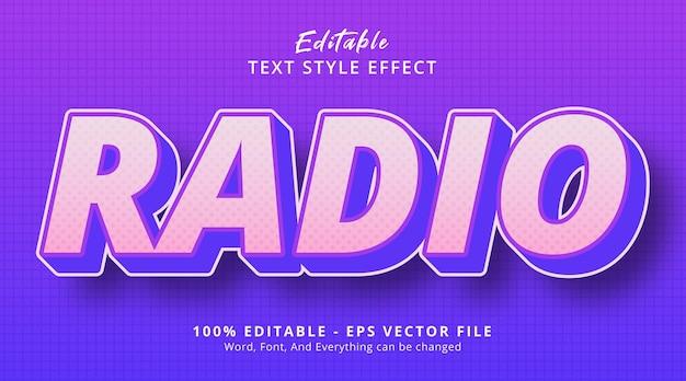 Testo radio con effetto stile sfumato hype, effetto testo modificabile