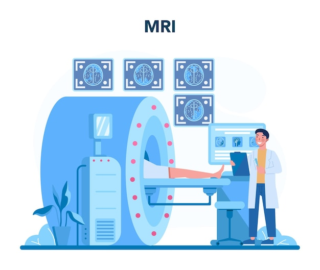 Concetto di radiologo. medico che esamina l'immagine mri del corpo umano con tomografia computerizzata, idea di assistenza sanitaria e diagnosi di malattie. isolato